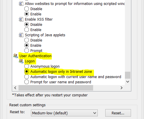 IE Settings for Office 365, ADFS & SSO